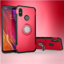 Armor Anti Drop Carbon PC + Silicon Invisible Ring Holder Phone Case for Xiaomi Mi 8 - Red
