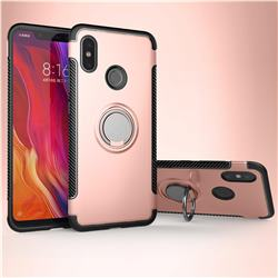 Armor Anti Drop Carbon PC + Silicon Invisible Ring Holder Phone Case for Xiaomi Mi 8 - Rose Gold