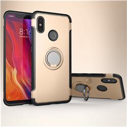 Armor Anti Drop Carbon PC + Silicon Invisible Ring Holder Phone Case for Xiaomi Mi 8 - Champagne