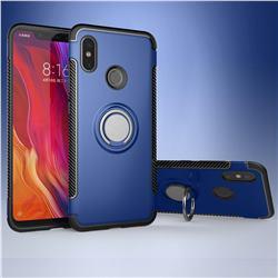 Armor Anti Drop Carbon PC + Silicon Invisible Ring Holder Phone Case for Xiaomi Mi 8 - Sapphire