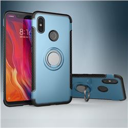 Armor Anti Drop Carbon PC + Silicon Invisible Ring Holder Phone Case for Xiaomi Mi 8 - Navy