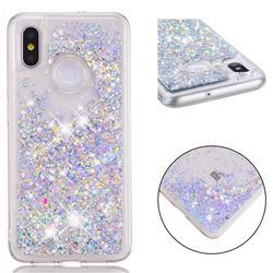 Dynamic Liquid Glitter Quicksand Sequins TPU Phone Case for Xiaomi Mi 8 - Silver