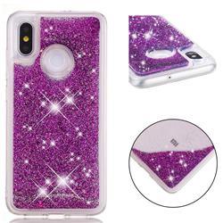 Dynamic Liquid Glitter Quicksand Sequins TPU Phone Case for Xiaomi Mi 8 - Purple