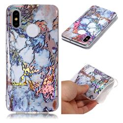 Gold Plating Marble Pattern Bright Color Laser Soft TPU Case for Xiaomi Mi 8