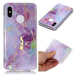Pink Purple Marble Pattern Bright Color Laser Soft TPU Case for Xiaomi Mi 8