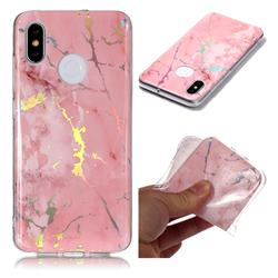 Powder Pink Marble Pattern Bright Color Laser Soft TPU Case for Xiaomi Mi 8