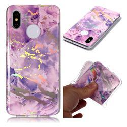 Purple Marble Pattern Bright Color Laser Soft TPU Case for Xiaomi Mi 8