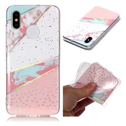 Matching Color Marble Pattern Bright Color Laser Soft TPU Case for Xiaomi Mi 8