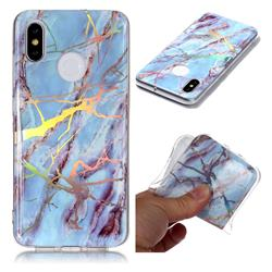 Light Blue Marble Pattern Bright Color Laser Soft TPU Case for Xiaomi Mi 8