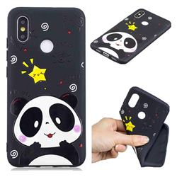 Cute Bear 3D Embossed Relief Black TPU Cell Phone Back Cover for Xiaomi Mi 8