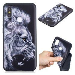 Lion 3D Embossed Relief Black TPU Cell Phone Back Cover for Xiaomi Mi 8