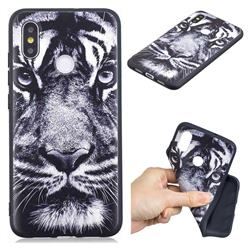 White Tiger 3D Embossed Relief Black TPU Cell Phone Back Cover for Xiaomi Mi 8