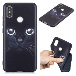 Bearded Feline 3D Embossed Relief Black TPU Cell Phone Back Cover for Xiaomi Mi 8