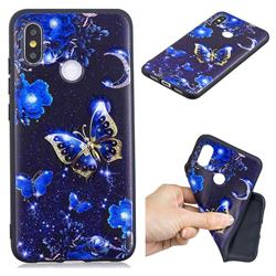 Phnom Penh Butterfly 3D Embossed Relief Black TPU Cell Phone Back Cover for Xiaomi Mi 8