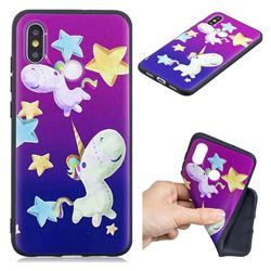 Pony 3D Embossed Relief Black TPU Cell Phone Back Cover for Xiaomi Mi 8