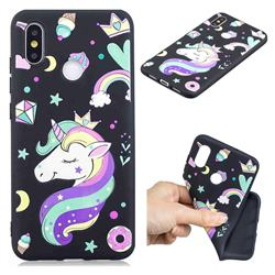 Candy Unicorn 3D Embossed Relief Black TPU Cell Phone Back Cover for Xiaomi Mi 8