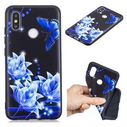 Blue Butterfly 3D Embossed Relief Black TPU Cell Phone Back Cover for Xiaomi Mi 8