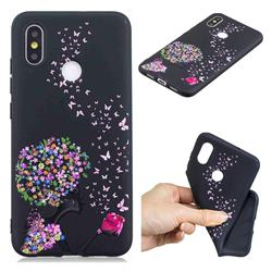 Corolla Girl 3D Embossed Relief Black TPU Cell Phone Back Cover for Xiaomi Mi 8