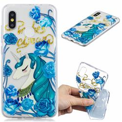 Blue Flower Unicorn Clear Varnish Soft Phone Back Cover for Xiaomi Mi 8