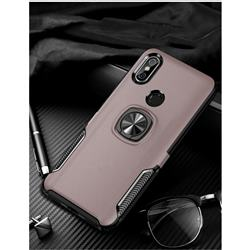 Knight Armor Anti Drop PC + Silicone Invisible Ring Holder Phone Cover for Xiaomi Mi 8 - Rose Gold