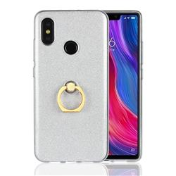 Luxury Soft TPU Glitter Back Ring Cover with 360 Rotate Finger Holder Buckle for Xiaomi Mi 8 - White