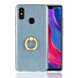 Luxury Soft TPU Glitter Back Ring Cover with 360 Rotate Finger Holder Buckle for Xiaomi Mi 8 - Blue