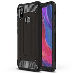 King Kong Armor Premium Shockproof Dual Layer Rugged Hard Cover for Xiaomi Mi 8 - Black Gold