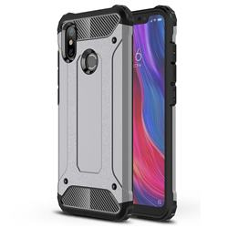 King Kong Armor Premium Shockproof Dual Layer Rugged Hard Cover for Xiaomi Mi 8 - Silver Grey
