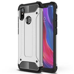 King Kong Armor Premium Shockproof Dual Layer Rugged Hard Cover for Xiaomi Mi 8 - Technology Silver