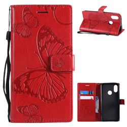 Embossing 3D Butterfly Leather Wallet Case for Xiaomi Mi 8 - Red