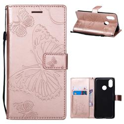Embossing 3D Butterfly Leather Wallet Case for Xiaomi Mi 8 - Rose Gold