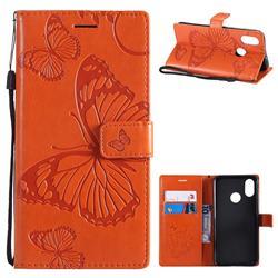 Embossing 3D Butterfly Leather Wallet Case for Xiaomi Mi 8 - Orange