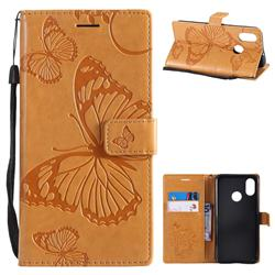 Embossing 3D Butterfly Leather Wallet Case for Xiaomi Mi 8 - Yellow