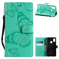Embossing 3D Butterfly Leather Wallet Case for Xiaomi Mi 8 - Green