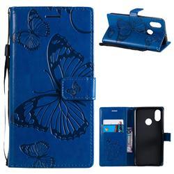 Embossing 3D Butterfly Leather Wallet Case for Xiaomi Mi 8 - Blue