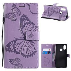 Embossing 3D Butterfly Leather Wallet Case for Xiaomi Mi 8 - Purple