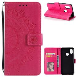 Intricate Embossing Datura Leather Wallet Case for Xiaomi Mi 8 - Rose Red