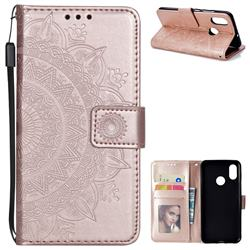 Intricate Embossing Datura Leather Wallet Case for Xiaomi Mi 8 - Rose Gold