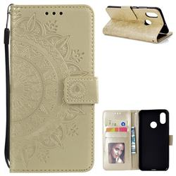 Intricate Embossing Datura Leather Wallet Case for Xiaomi Mi 8 - Golden