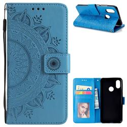Intricate Embossing Datura Leather Wallet Case for Xiaomi Mi 8 - Blue