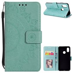 Intricate Embossing Datura Leather Wallet Case for Xiaomi Mi 8 - Mint Green