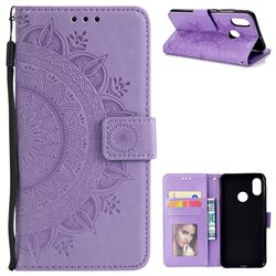 Intricate Embossing Datura Leather Wallet Case for Xiaomi Mi 8 - Purple
