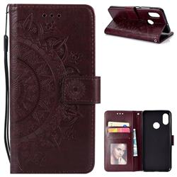 Intricate Embossing Datura Leather Wallet Case for Xiaomi Mi 8 - Brown