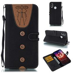 Ladies Bow Clothes Pattern Leather Wallet Phone Case for Xiaomi Mi 8 - Black
