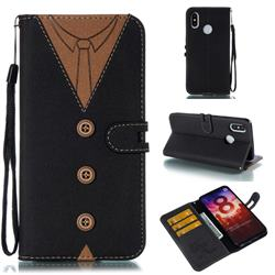 Mens Button Clothing Style Leather Wallet Phone Case for Xiaomi Mi 8 - Black