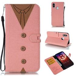 Mens Button Clothing Style Leather Wallet Phone Case for Xiaomi Mi 8 - Pink
