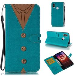 Mens Button Clothing Style Leather Wallet Phone Case for Xiaomi Mi 8 - Green