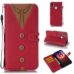 Mens Button Clothing Style Leather Wallet Phone Case for Xiaomi Mi 8 - Red