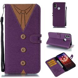 Mens Button Clothing Style Leather Wallet Phone Case for Xiaomi Mi 8 - Purple
