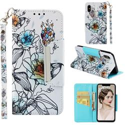 Fotus Flower Big Metal Buckle PU Leather Wallet Phone Case for Xiaomi Mi 8